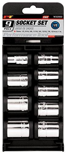 Performance Tool W32002 12-Inch Drive SAE Socket Set 9-Piece