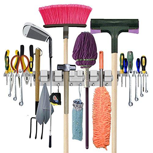 Anybest Utility Mop Broom Holders Wall-Mounted Garden Tool Rack Garage Storage Organization Hangers 6-Positions 6-Hooks 2-Tool Platforms