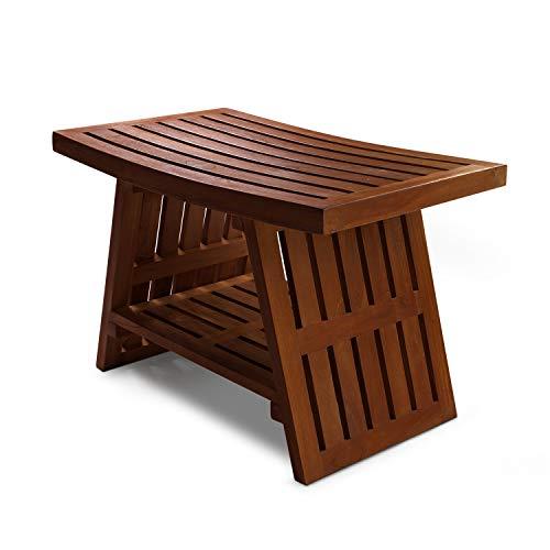 HydroTeak Hana Original Teak Shower Bench With Shelf Teak Wood Bath Chair for Spa Pool Bathroom Coated with Teak Oil HTST04Fully Assembled