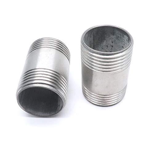 Sydien Stainless Steel Pipe Fitting Nipple1 NPT X 1 NPT Male2Pcs