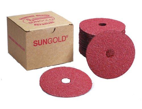 Sungold Abrasives 16902 4-12-Inch x 78-Inch Center Hole 36 Grit Aluminum Oxide Fiber Disc 25-Pack