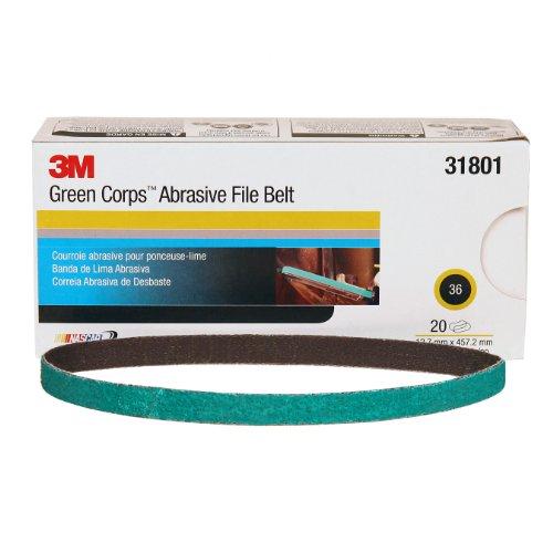 3M Green Corps Abrasive File Belt 31801 36 12 in x 18 in 127 mm x 4572 mm 20 belts per carton