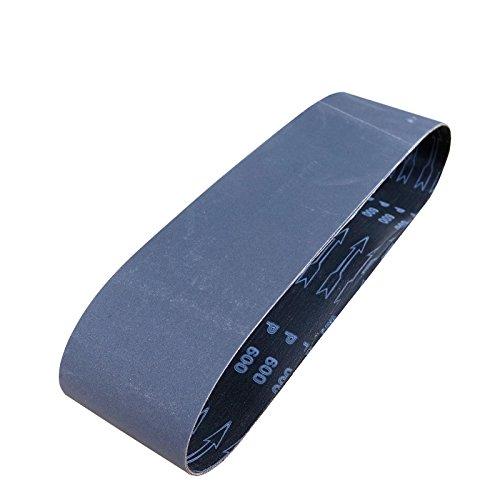POWERTEC 456403 4 x 36 Sanding Belts Silicon Carbide Abrasive 400 Grit Sandpaper - 3 Pack