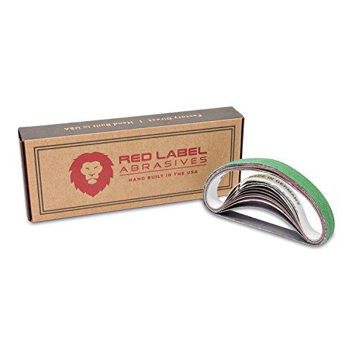 Red Label Abrasives 12 X 10 Inch Coarse P80 GritMedium P320 GritFine P800 GritUltra Fine P5000 Grit Knife Sharpener Sanding Belts 10 Pack Fits Work Sharp WSCMB Combo Knife Sharpener