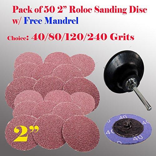 MTP TM Pack of 501 2 Roloc Type R Sanding Abrasive Disc Free Mandrel Pad Roll Lock Air Sander Mix 40g20pc 80120240 10ea  Mandrel