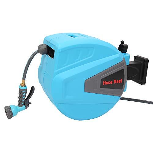 PARTS-DIYER 100 Retractable Water Garden Hose Reel Auto Wall Mounted WSpray Gun