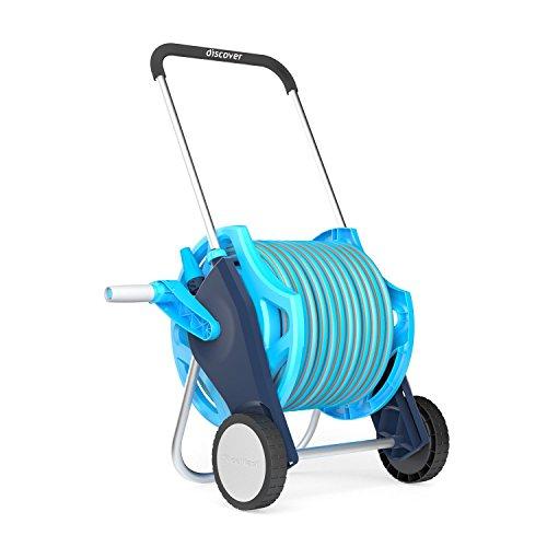 Professional Garden Hose Reel Hosepipe Trolley Set Including Proffesional 20m Hose and Spray Gun