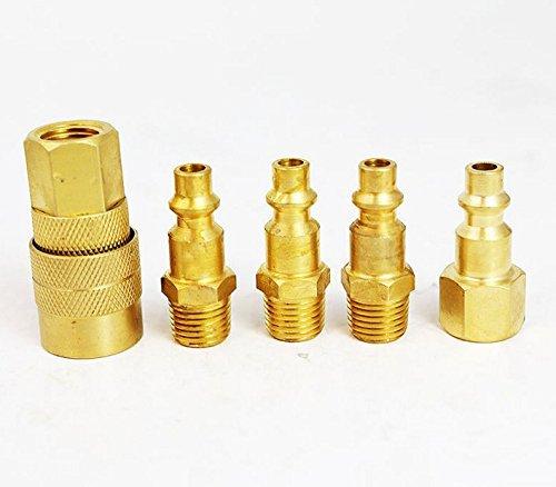 5 Pc Hi Flo Brass Air Quick Coupler Tools Air Compressor Tool Equipment 14 NPT