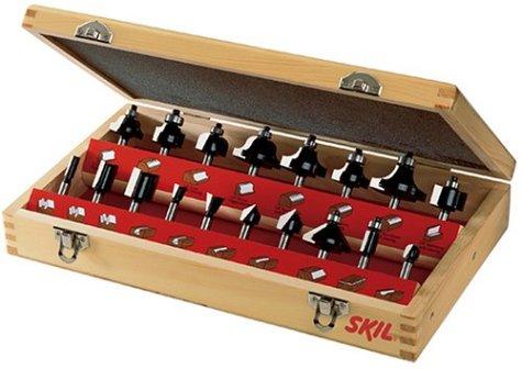 SKIL 91018 18-Piece Carbide Router Bit Set in Wooden Storage Case