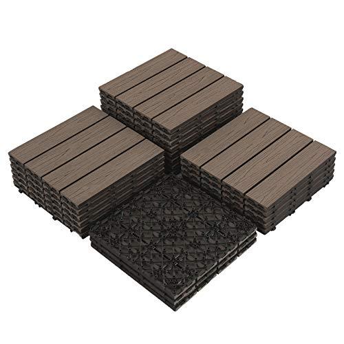 PANDAHOME 22 PCS Deck Interlocking Flooring Tiles 12x12 Wood-Plastic Composite Patio Tiles Water Resistant for Indoor Outdoor 22 sq ft - Coffee Wood Grain