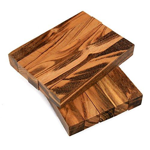 Legacy Woodturning Goncalo AlvesTigerwood Ebony Wood Pen Blank 34 x 34 x 5 Pack of 10