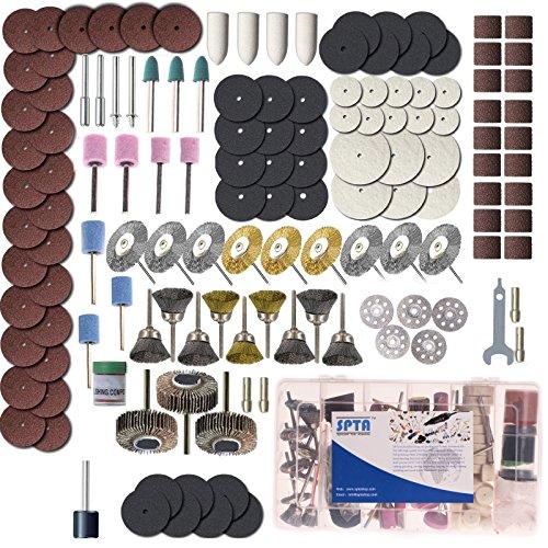 SPTA Rotary Tool Accessory Set With 183mm Shank- For Proxxon Dremel Rotary Tools- GrindingSandingPolishing Pack of 365Pcs