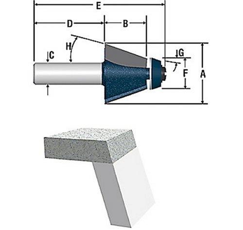 Bosch 85659M 1-38-Inch Diameter 1-Inch Cut Carbide Tipped 15 Bevel Bowl Router Bit 12-Inch Shank