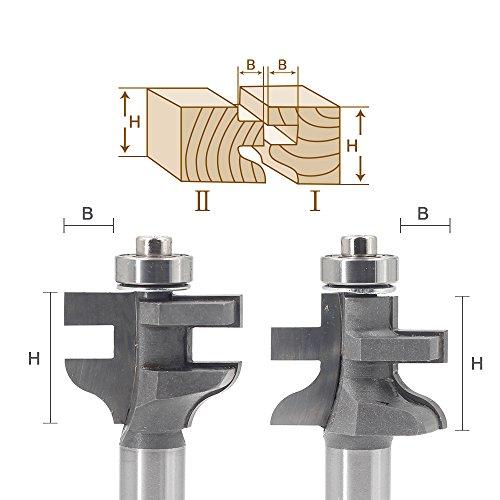 T-Slot Router Bit JESTUOUS 2 pcs 1-38 Inch Cutting Diameter x 12 Shank Slotting Rabbeting Cutter Kit