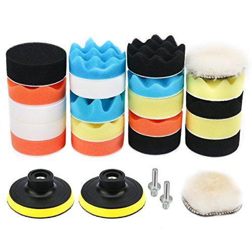VERONES Car Foam Drill Polishing Pad Kit 25 PCS 3 Inch80mm Buffing Pads Waxing Polishing Sealing Glaze