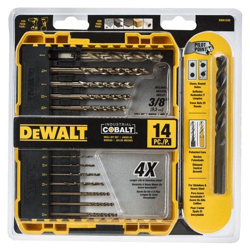 DEWALT DWA1240 Pilot Point Industrial Cobalt Drill Bit Set 14 Piece