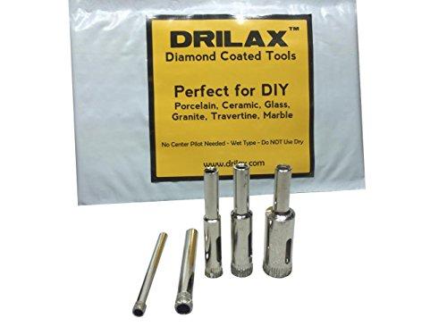 "Drilaxâ""¢ 5 Pcs Diamond Drill Bit Set 316 14 516 38 12 - Wet Use for Tiles Glass Fish Tanks Marble Granite Ceramic Porcelain Bottles Quartz - Lot 5 Diamond Coated Drills - Kitchen Bathroom Shower Lamps Drilax050513"