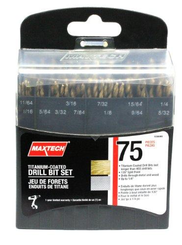Maxtech 53385MX Titanium Coated Drill Bit Set 75-Piece