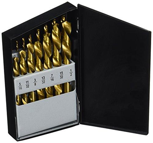 Neiko 10037A Left Hand Titanium Drill Bit Set High Speed Steel  15-Piece Set  116 to 12 by 132 Increment