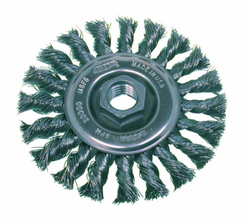 Osborn 26386 High Speed Small Grinder Standard Twist Knot Wire Wheel Brush Stainless Steel Bristle 20000 RPM 4 Diameter 002 Fill Diameter