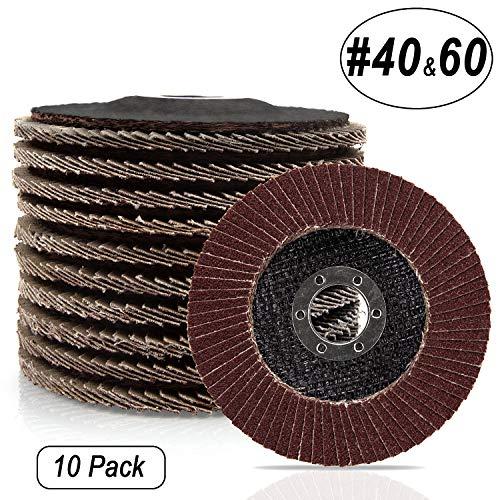 CenterZ 45 x 78 Flap Discs - 10 Pack Assorted 40 60 Grit Grinding Wheel - T27 Premium Abrasive Flap Sanding Disc Wheels for Power Sander Polisher Grinder Aluminum Oxide Corundum Flat Type 27
