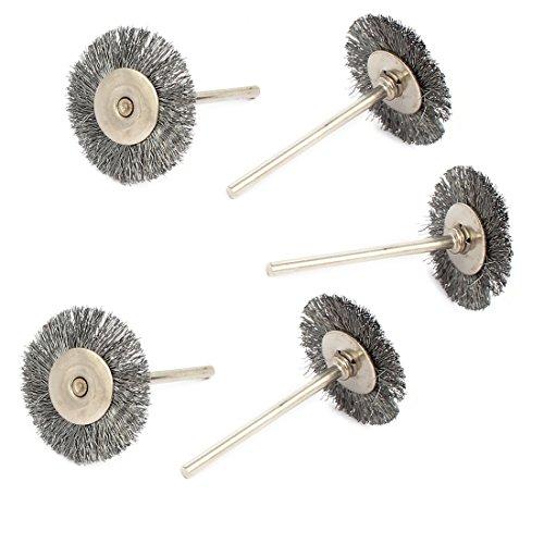 uxcell 235mm Shank 25mm Head Dia Steel Wire Polishing Brush Wheel Buffing Tool 5pcs