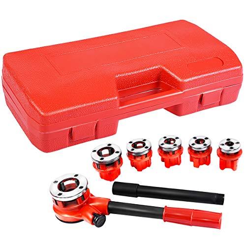 Goplus Ratchet Pipe Threader Kit Ratcheting Pipe Threading Tool Set w 6 Dies and Storage Case