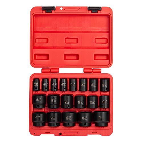 Sunex 2640 12 Inch Drive Impact Socket Set 19-Piece SAE 38 Inch - 1-12 Inch Cr-Mo Alloy Steel Radius Corner Design Dual Size Markings Heavy Duty Storage Case Meets ANSI Standards