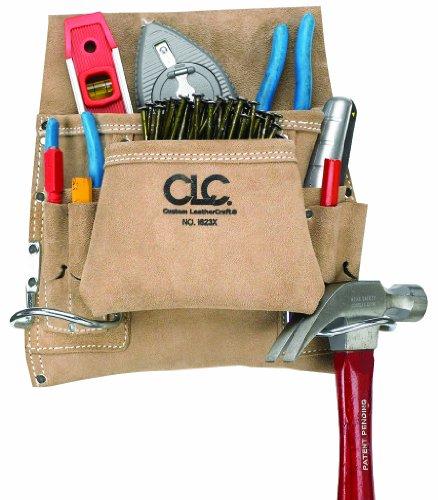 CLC Custom Leathercraft I823X Suede Carpenters Nail And Tool Bag 8 Pocket