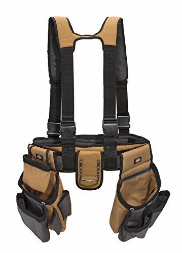Dickies Work Gear - 4-Piece Carpenters Rig - 57023 - Tool Belt Suspenders - Cooling Mesh - Padded Suspenders - Steel Buckle - Leather Tool Belt - GreyTan - 38 lb