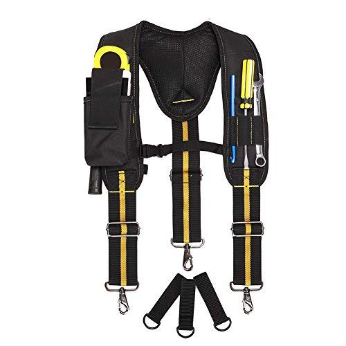 Work Suspenders Padded Tool Belt Suspenders With Phone Pocket Pencil Sleeve Adjustable Straps Suspenders Loop Heavy Duty Work for Carpenter Electrician Work Suspension Rig