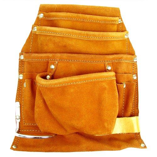 Stalwart 75-1101CH Hawk Professional 10 Pocket Genuine Leather Tool Bag Pouch
