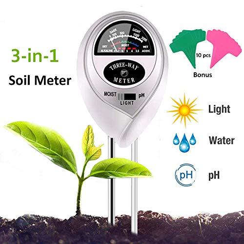 Adorma Soil pH Meter 3-in-1 Soil Test Kit for MoistureLight&pH MeterGardening Tool Kits Great for Garden PlantsLawn FarmIndoor Outdoor 10 Free Bonus Garden LabelsSilver