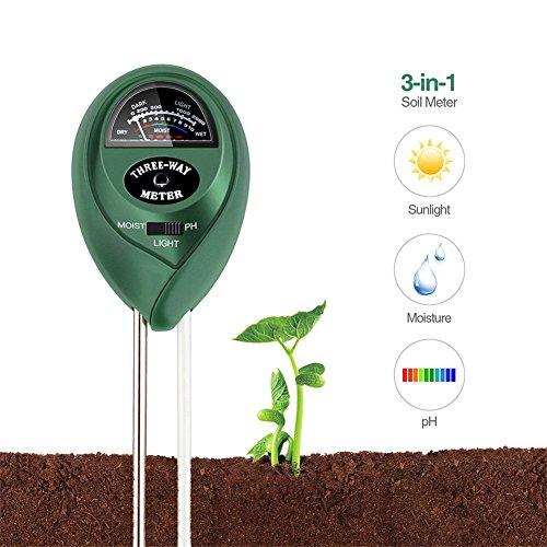 BAIYI Kitchenware Soil pH Meter 3-in-1 Soil Test Kit For MoistureLight pHGreat For GardenFarm LawnPlantsHerbs Gardening ToolsIndoor Outdoor Plant Care Soil TesterNo Battery needed