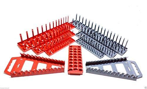 Hansen 14 38 12 9pc Socket Tray Wrench Rack Organizer Set Metric SAE USA