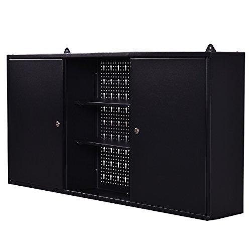 GoplusWall Mount Hanging Tool Box Storage Cabinet Lock Home Office Garage Black New