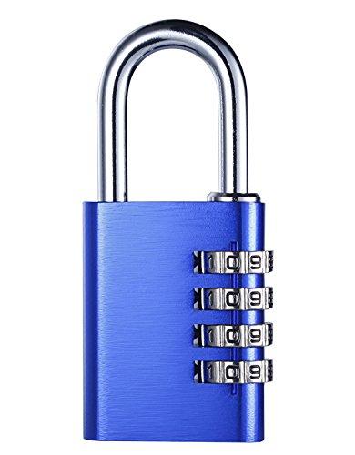 Combination Padlock Aestheticism 4 Digit Padlock Multi Purpose Luggage Locks for School Gym Locker Heavy Duty Filing Cabinets Toolbox Red Blue Blue