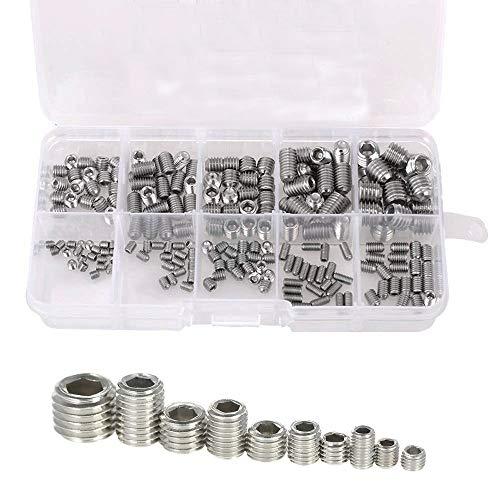 Eyech 200pc Stainless Steel Hex Grub Screw Assortment Kit Internal Hex Drive Cup Allen Head Socket Point Set Screws for Door Handles -10 Sizes M34568