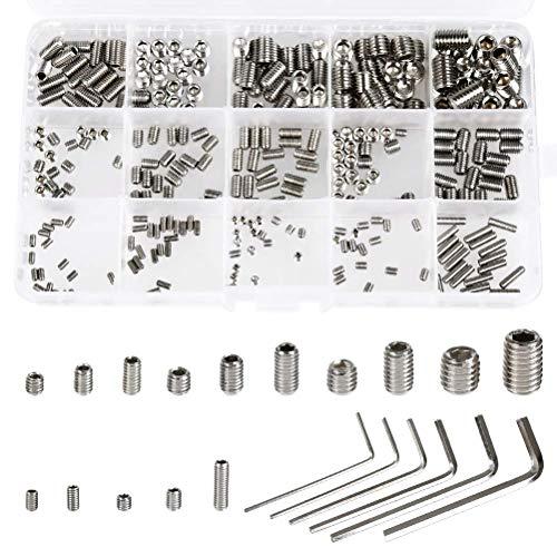 QLOUNI 300Pcs Metric M25M3M4M5M6M8 304 Stainless Steel Allen Head Socket Hex Grub Screw Set Screw Assortment Kit with 6 Hex Wrenches Headless Screw for Door Handles Faucet Light Fixture