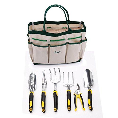 Garden Tool Set ,Hmlai Aluminum 7 Piece Portable Garden Tool Set Includes 6 Tools Weeder Trowel Cultivator Transplanter Weeding fork PrunerTool Bag