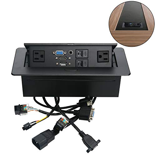 Table Pop Up Power Box-Conference Damped Multimedia Outlet Connection BoxDesktop Pop Up Socket with USBHDMIVGAAudio and 2 Ethernet PortCAT5E