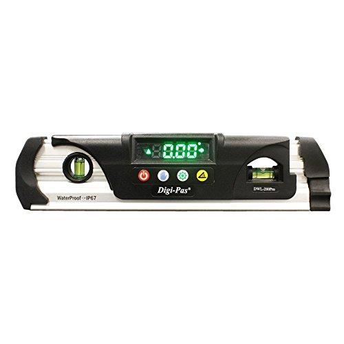 Digi-Pas DWL280PRO Waterproof IP67 Digital Torpedo Level and Protractor Magnet LED Bright Display 9 inch