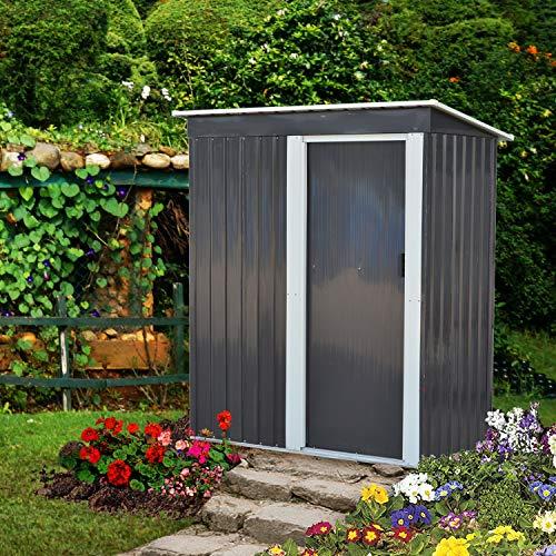 DOIT 5x3x6 Outdoor Metal Garden Storage ShedOutdoor Tool House Heavy Duty Sliding Door