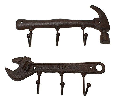 JustNile Metal Hammer Spanner Design Wall Mounted Hanging Rack - Vintage Black Color 2 designs in 1 pack