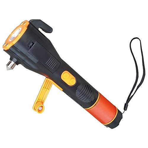 Emergency Multi-functional Flashlight Car Emergency Hammer Compass Magnet Safety Flashlight For Travel Camping Hiking black