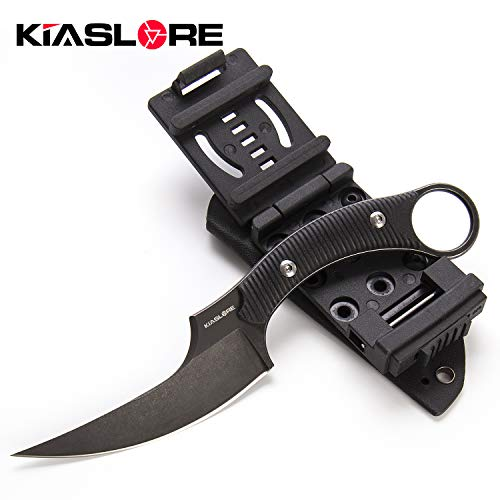 KIASLORE Outdoor Survival Claw Tactical Knife D2 Steel Blade and G10 Steel Handle Sharp Fixed Blade with Sheath