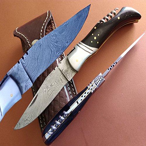 Damascus Steel Knife  Handmade Knife  Hunting Knife  FOLDING-POCKET KNIFE- -WITH SHEATH- 102-109 ITA