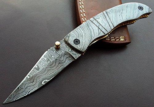 Damascus Steel Knife  Handmade Knife  Hunting Knife  FOLDING - POCKET KNIFE - HUNTING KNIFE - WITH SHEATH - PAL 8627