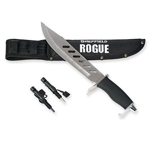 SHEFFIELD Rogue 10-inch Fixed Blade Hunting Knife W Bonus Sheath Firestarter Sharpener