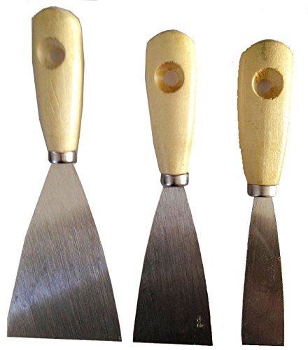 Wood Handle Steel blade Putty Knife and Scraper Set of 3